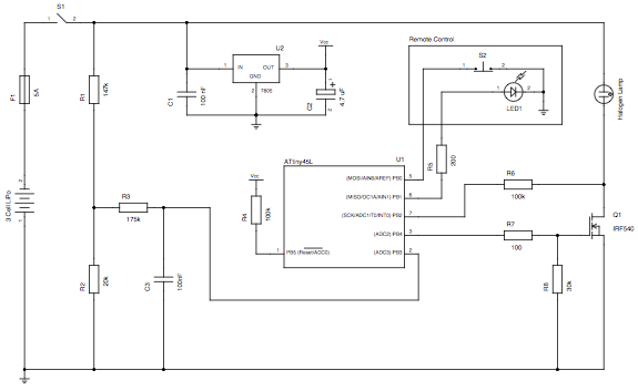 Schematic for AVR Light Control V1.0